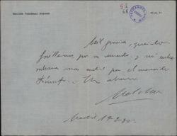Carta de Melchor Fernández Almagro a Guillermo Fernández-Shaw, felicitándole por su triunfo.