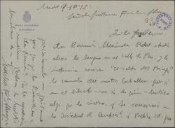 Carta de Melchor Fernández Almagro a Guillermo Fernández-Shaw, pidiéndole el libreto de una zarzuela para dejárselo a D. Ramón Menéndez Pidal.