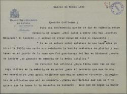 """Carta de Félix de Llanos y Torriglia a Guillermo Fernández-Shaw, pidiéndole ayuda para encontrar un antiguo artículo, publicado en """"La Época""""."""