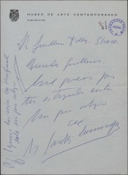 Carta de Manuel Sánchez Camargo a Guillermo Fernández-Shaw agradeciéndole la suya.