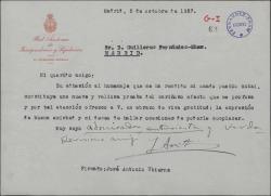 Carta de José Antonio Ubierna a Guillermo Fernández-Shaw, agradeciéndole su adhesión a homenaje tributado.