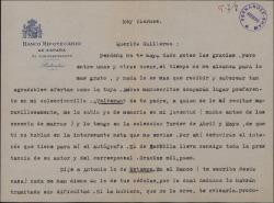 Carta de Félix de LLanos y Torriglia a Guillermo Fernández-Shaw, agradeciéndole el envío de dos manuscritos.