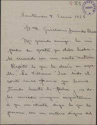 """Carta de Ángel de León a Guillermo Fernández-Shaw, hablándole del éxito obtenido por """"La villana""""."""