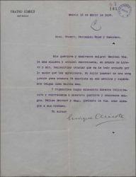 Carta de Enrique Chicote a Guillermo Fernández-Shaw, Federico Romero y Jacinto Guerrero, felicitándoles por un éxito teatral en su nombre y en el de Loreto Prado.