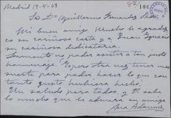 Carta de Ana Adamuz a Guillermo Fernández-Shaw, agradeciéndole su carta y lamentando no poder asistir a un homenaje.