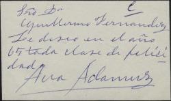 Tarjeta de visita de Ana Adamuz a Guillermo Fernández-Shaw, deseándole felicidades para el año 1965.