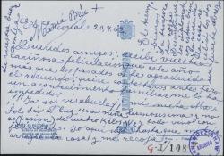 Tarjeta postal de María Bru a Guillermo Fernández-Shaw, agradeciendo una felicitación y comunicándole que ya es bisabuela.