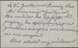 Tarjeta de visita de María Bru a Guillermo Fernández-Shaw, agradeciendo el envío de una obra dedicada.