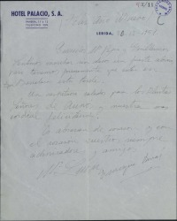 Carta de Enrique Borrás y esposa a Guillermo Fernández-Shaw y señora, despidiéndose al marchar a Barcelona.