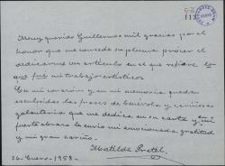 Carta de Matilde Pretel a Guillermo Fernández-Shaw, agradeciéndole el artículo que ha publicado sobre ella.