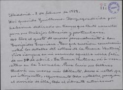 """Carta de Matilde Pretel a Guillermo Fernández-Shaw, recordando el estreno de """"La buena ventura"""" que va a reponerse en el teatro de la Zarzuela."""