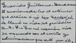 Tarjeta de visita de Matilde Pretel a Guillermo Fernández-Shaw, emocionada al leer un artículo dedicado a Carlos Fernández Shaw.