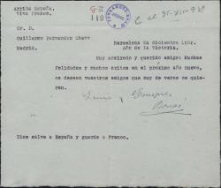 Carta de Enrique Borrás a Guillermo Fernández-Shaw, felicitándole el año nuevo.