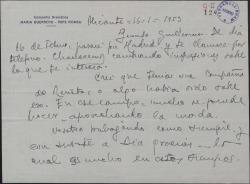 Carta de Pepe Romeu a Guillermo Fernández-Shaw, anunciándole su paso por Madrid, donde espera verle.