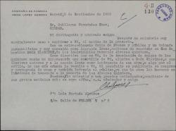 """Carta de Luis Hurtado Álvarez a Guillermo Fernández-Shaw, pidiéndole una cuartilla sobre la obra """"Doña Clarines"""" que acaba de interpretar con gran éxito Irene López Heredia."""