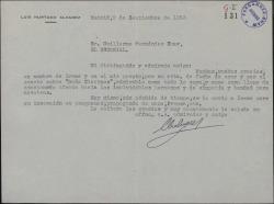 """Carta de Luis Hurtado Álvarez a Guillermo Fernández-Shaw, agradeciendo el soneto que le ha enviado sobre """"Doña Clarines""""."""