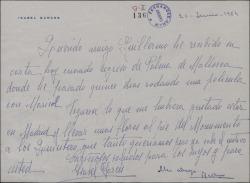 Carta de Isabel Garcés a Guillermo Fernández-Shaw, contestando a una carta de éste en relación con un homenaje a los hermanos Quintero.