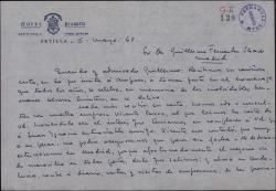 Carta de Paco Pierrá a Guillermo Fernández-Shaw, explicando que Amparo Martí no puede asistir al acto en memoria de los hermanos Quintero.