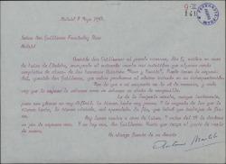 Carta de Antonio Martelo a Guillermo Fernández-Shaw, dándole cuenta del ensayo de un entremés de los Quintero.