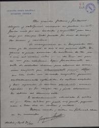 Carta de Eugenio Casals a Guillermo Fernández-Shaw y Federico Romero, agradeciéndoles su carta y dándoles noticias de la inauguración de la temporada teatral.