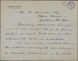 Carta de Eugenio Casals a Guillermo Fernández-Shaw y Federico Romero, elogiando su labor en pro del teatro lírico.
