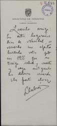 Carta de Pedro Llabrés a Guillermo Fernández-Shaw, deseándole feliz año nuevo.