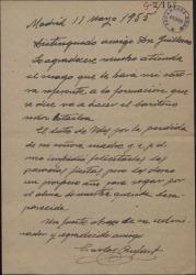 Carta de Carlos Rufart a Guillermo Fernández-Shaw, pidiéndole que atienda la petición de su esposa.