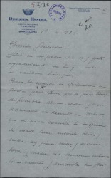 """Carta de Eugenio Casals a Guillermo Fernández-Shaw contándole detalles de los ensayos de la obra """"La Chulapona""""."""