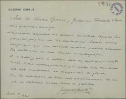 """Carta de Eugenio Casals a Guillermo Fernández-Shaw y Federico Romero agradeciéndoles sus palabras en las primeras páginas de """"La Chulapona""""."""