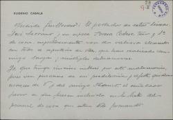 Carta de Eugenio Casals a Guillermo Fernández-Shaw pidiéndole que incluya en su personal de coro a un matrimonio por el que se interesa.