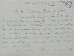 """Carta de Francisco Arias a Guillermo Fernández-Shaw, lamentando que la obra """"Serenata"""", no se estrene en Barcelona."""