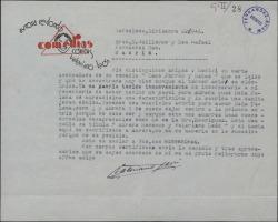 Carta de Valeriano León a Guillermo Fernández-Shaw, devolviéndole una obra por no haber en ella papel para Aurora Redondo.