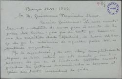 Carta de Ángel de León a Guillermo Fernández-Shaw, sobre la situación de la actriz Rosa Corona.