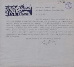 """Carta de Paco Pierrá a Guillermo Fernández-Shaw, rechazando la comedia """"Se necesita un corazón en buen uso"""" por no tener un papel adecuado para Amparo Martí."""