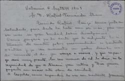 Carta de Ángel de León a Rafael Fernández-Shaw, pidiéndole que se interese por la situación de la actriz Rosa Corona.