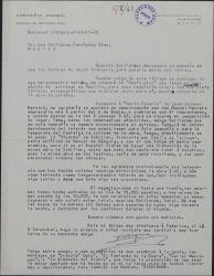 """Carta de Enrique Rambal a Guillermo Fernández-Shaw, hablando de su obra """"Sexto piso"""" y de otros temas teatrales."""