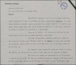 """Carta de Enrique Rambal a Guillermo Fernández-Shaw, hablando de su mal estado de salud, de """"Sexto piso"""" y de sus actuaciones en Valencia."""