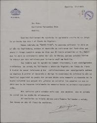 "Carta de Enrique Rambal a Guillermo Fernández-Shaw, prometiéndole estrenar ""Sexto piso"" antes de la fecha que pensaba."