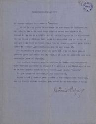 """Carta de Antonio Palacios a Guillermo Fernández-Shaw y Federico Romero, hablando de negocios teatrales y del éxito de """"El caserío"""" en Valladolid."""