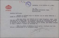 Carta de Enrique Rambal a Guillermo Fernández-Shaw, anunciándole que le enviará rellenadas unas hojas para la censura.