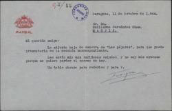 """Carta de Enrique Rambal a Guillermo Fernández-Shaw, enviándole la hoja de censura de """"Los pájaros""""."""