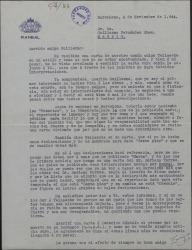 Carta de Enrique Rambal a Guillermo Fernández-Shaw, protestando de la carta que ha recibido de Tellaeche y justificando su manera de proceder.