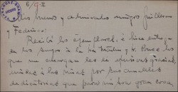 Carta de Antonio Palacios a Guillermo Fernández-Shaw y Federico Romero, agradeciéndoles los ejemplares dedicados de una obra que le han mandado.