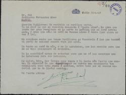 Carta de Enrique Rambal a Guillermo Fernández-Shaw, contestando a una suya y prometiendo visitar a sus familiares de Venezuela cuando vaya allí.