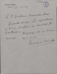 Carta de Enrique Chicote a Guillermo Fernández-Shaw, agradeciéndole una felicitación.