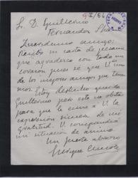 Carta de Enrique Chicote a Guillermo Fernández-Shaw, agradeciendo un pésame.