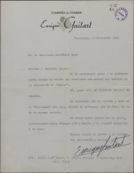 Carta de Enrique Guitart a Guillermo Fernández-Shaw, hablándole de su temporada teatral en Barcelona y diciéndole que le interesa conocer su comedia.