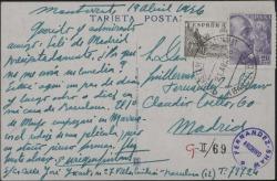 Tarjeta postal de Enrique Guitart a Guillermo Fernández-Shaw, pidiéndole que le envíe su comedia.