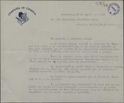 Carta de Enrique Guitart a Guillermo Fernández-Shaw, diciéndole que la obra o encaja en su repertorio pero que le iría muy bien a Paco Melgares.