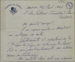 Carta de Enrique Guitart a Guillermo Fernández-Shaw, pidiéndole que le envíe una obra traducida por él.